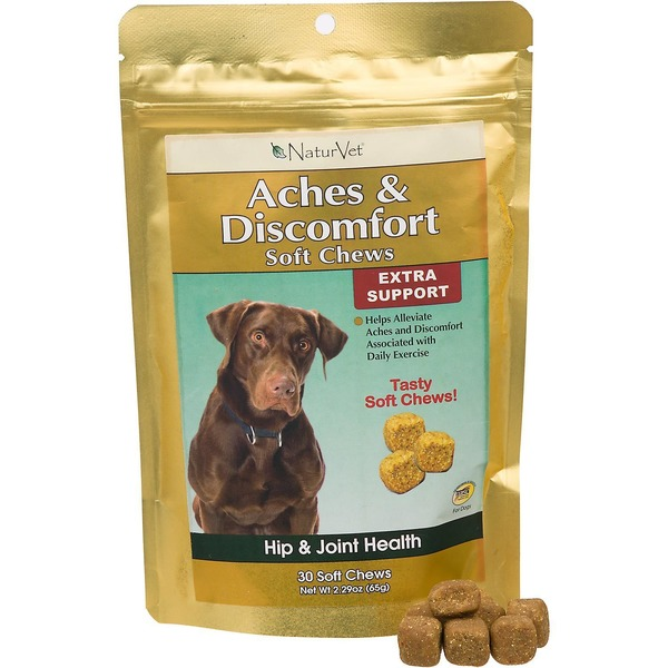 NaturVet Aches & Discomfort Soft Chews Extra Support Hip & Joint Health for Dogs