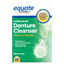 Equate Antibacterial Mint Fresh Denture Cleanser Tablets, 84 Ct