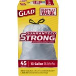 Glad Guaranteed Strong Tall Kitchen Bags, 13 Gallon, 45 Ct