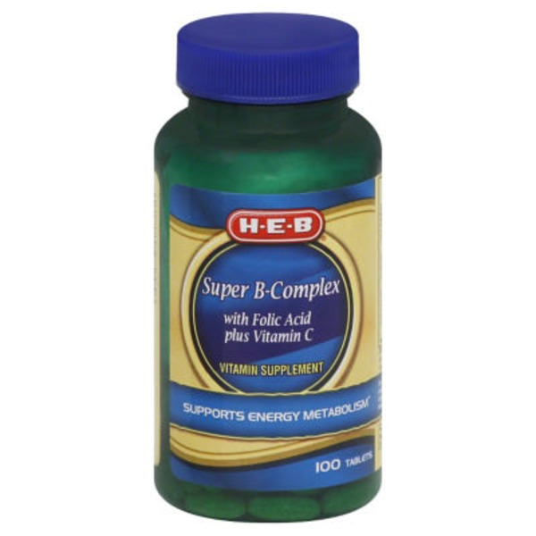 H-E-B Super B Complex With Folic Acid & Vitamin C Tablets
