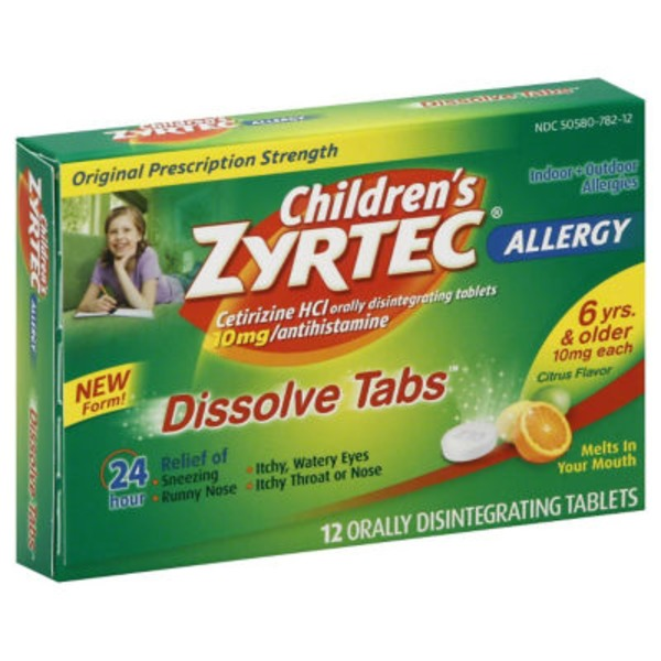Zyrtec® Children's Allergy, Original Prescription Strength, 10 mg, Dissolve Tabs, Citrus Flavor
