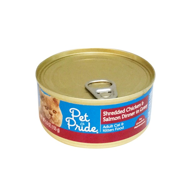 Petes Pride Shredded Chicken & Salmon Dinner In Gravy Cat Food