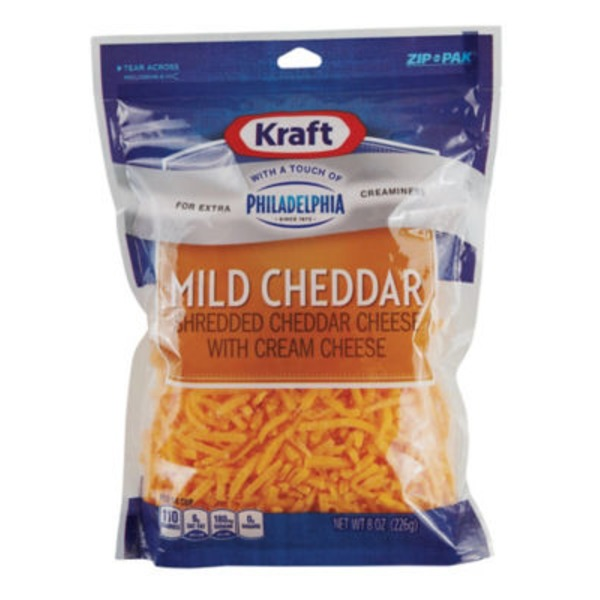 Shredded Mild Cheddar with a Touch of Philadelphia Cheese