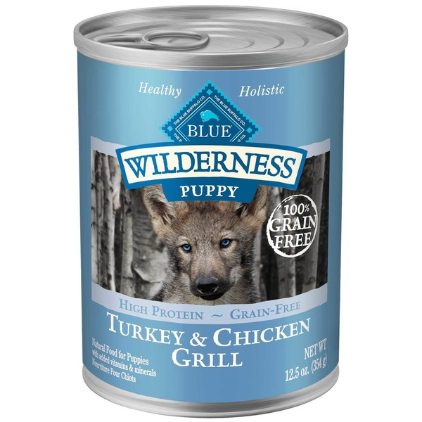 Blue Buffalo Dog Food, Moist, Turkey & Chicken Grill, Wilderness, Puppy, Can