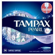 Tampax Pearl Tampons with Plastic Applicator, Light , Unscented, 36 Ct