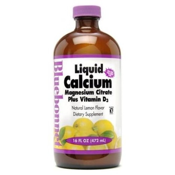 Bluebonnet Liquid Calcium Magnesium Citrate Natural Lemon Flavor