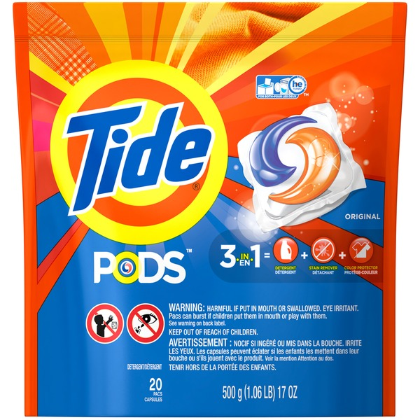 Tide PODS Laundry Detergent, Original, 20 count, Designed for Regular and HE Washers Laundry