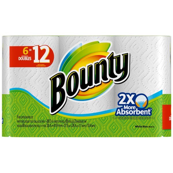 Bounty Basic Paper Towels, White, 6 Double Rolls = 12 Regular Rolls  Towels/Napkins