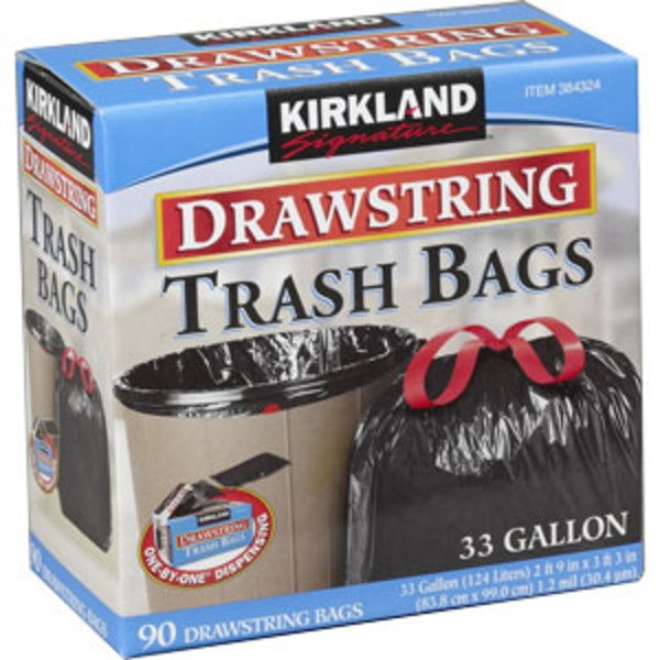 Kirkland Signature Drawstring Trash Bags, 33 Gallon