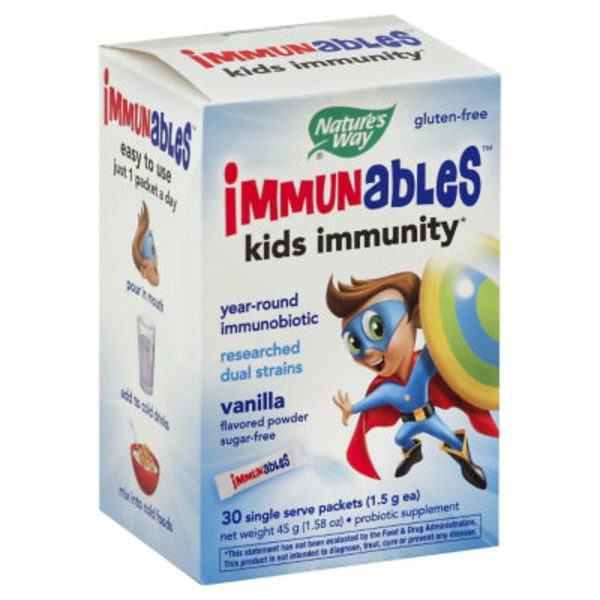 Nature's Way Probiotic Supplement Immunables Single Serve Packets Vanilla Flavored Powder