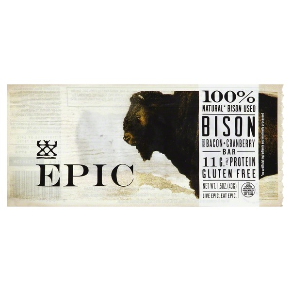 Epic Bison Bar Uncured Bacon Cranberry