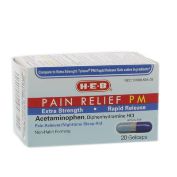 H-E-B Extra Strength Rapid Release Pain Relief Pm Pain Reliever And Nighttime Sleep Aid Gelcaps