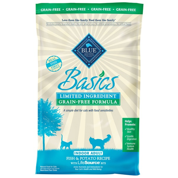 Blue Buffalo Food for Cats, Natural, Grain-Free Formula, Indoor Adult, Fish & Potato Recipe