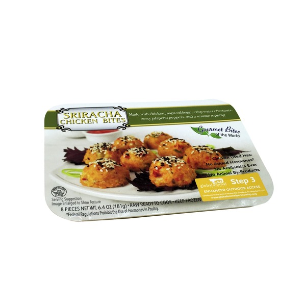 Gourmet Foods Inc Sriracha Chicken With Napa Cabbage Bites