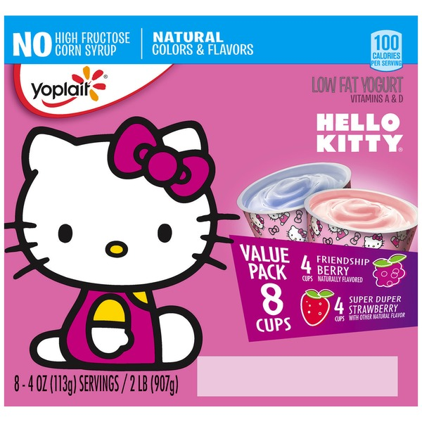 Yoplait Hello Kitty Friendship Berry/Super Duper Strawberry Variety Pack Low Fat Yogurt