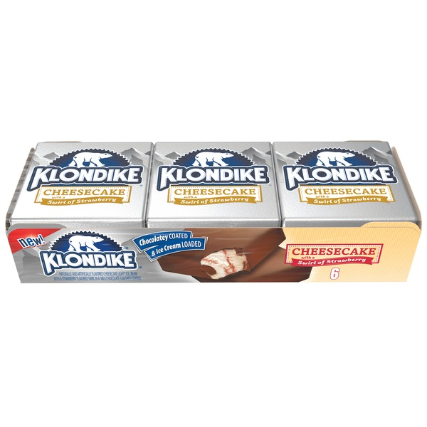 Klondike Cheesecake with a Swirl of Strawberry Ice Cream Bars