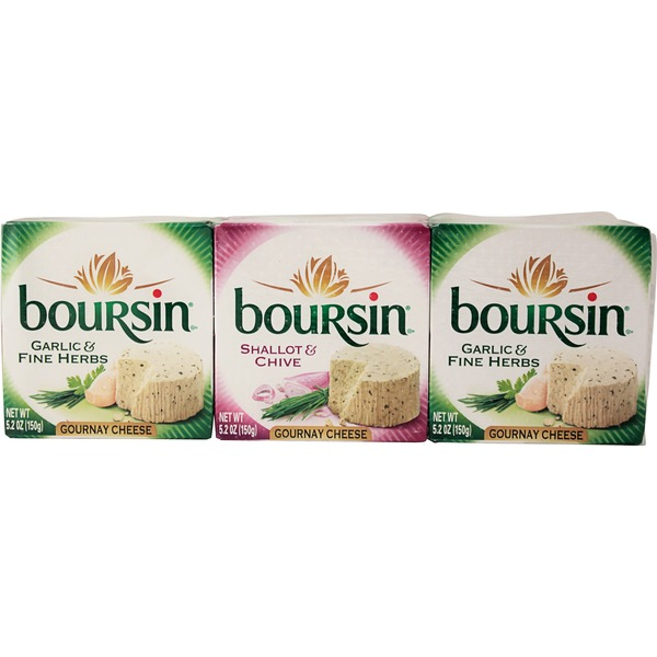Boursin Garlic & Fine Herbs/Shallot & Chive 5.2 Oz Boxes Gournay Cheese