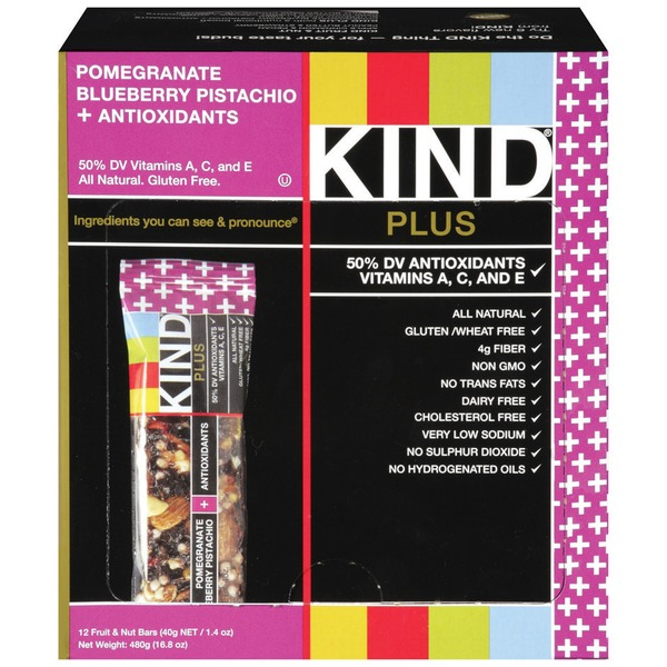 KIND Pomegranate Blueberry Pistachio Plus Antioxidants 1.4 oz Fruit & Nut Bars
