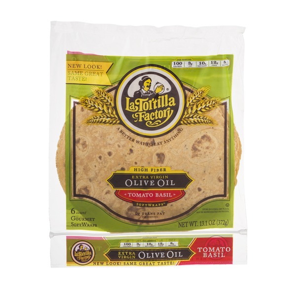 La Tortilla Factory High Fiber Extra Virgin Olive Oil Softwraps Tomato Basil