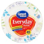 Great Value Everyday Premium Paper Plates, 8 5/8', 45 Count