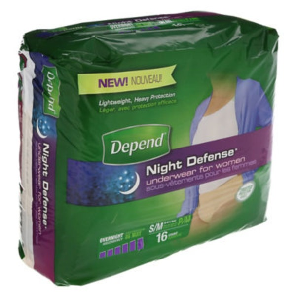 Depend Night Defense for Women Overnight Absorbency S/M Underwear