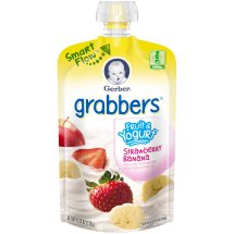 Gerber Grabbers Fruit and Yogurt Squeezable Puree, Strawberry Banana, 4.23 oz Pouch