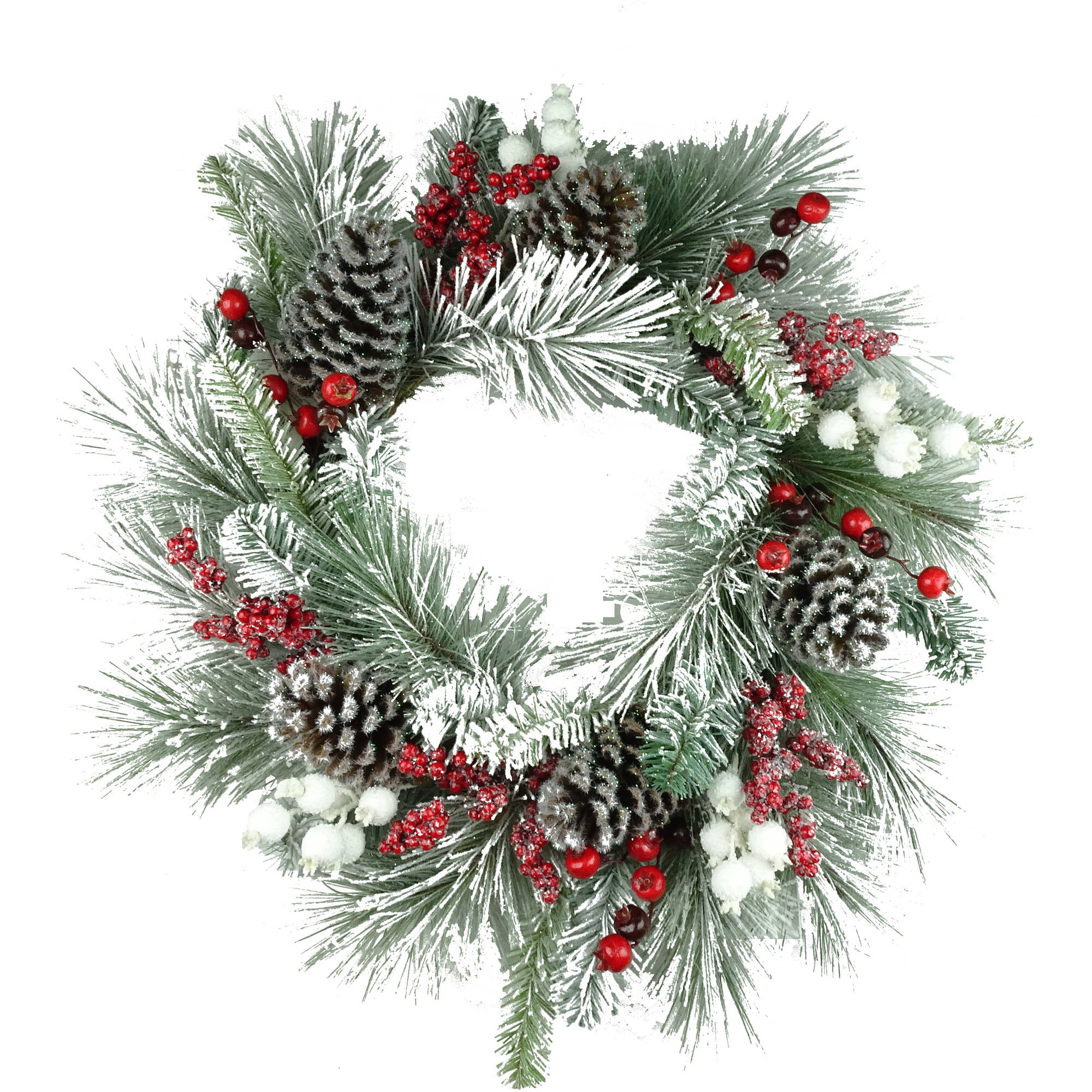 Holiday Time Christmas Decor 30 Deluxe White Flocked Holly Berry Wreath