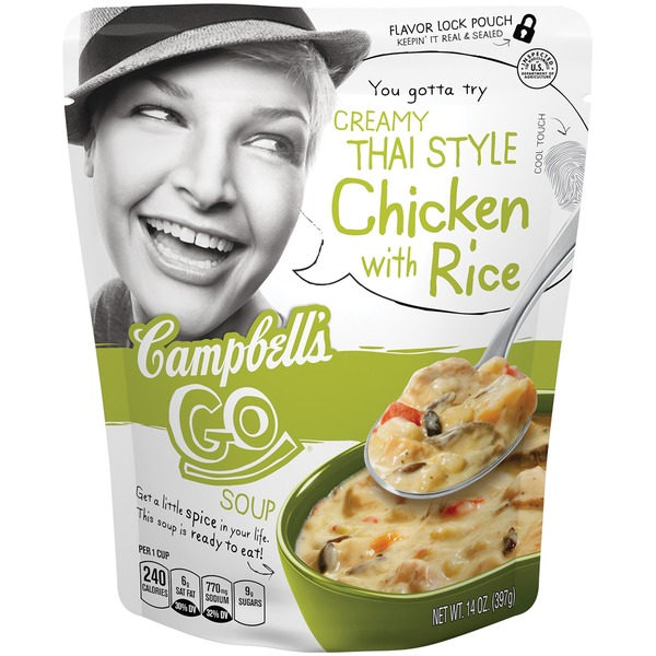 Campbell's Go Creamy Thai Style Chicken With Rice Soup