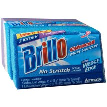 Brillo Estracell Kitchen & Bathroom Scrub Sponges, 3 count