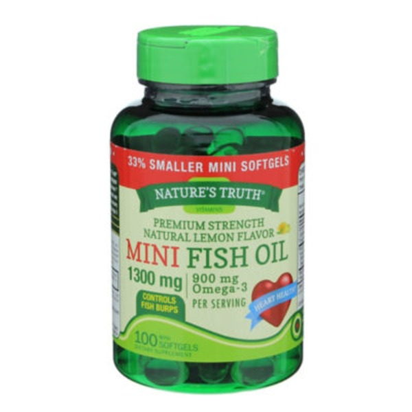 Nature's Truth Organic Mini Lemon 1300 mg Fish Oil Softgels