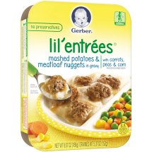 Gerber Lil' Entrees, Mashed Potatoes and Meatloaf Nuggets in Gravy with Carrots, Peas and Corn, 6.67 oz Tray