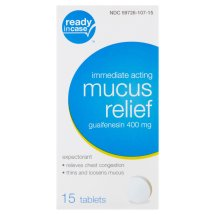 Ready in Case Immediate Acting Mucus Relief Tablets, 400 mg, 15 count