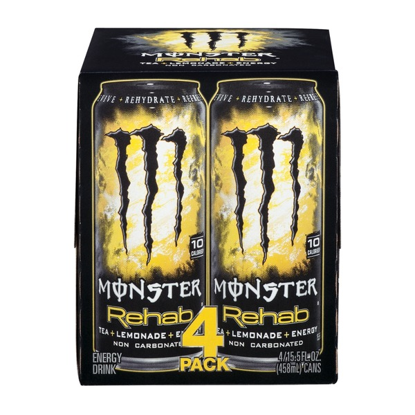 Monster Rehab Energy Drink Tea + Lemonade - 4 PK