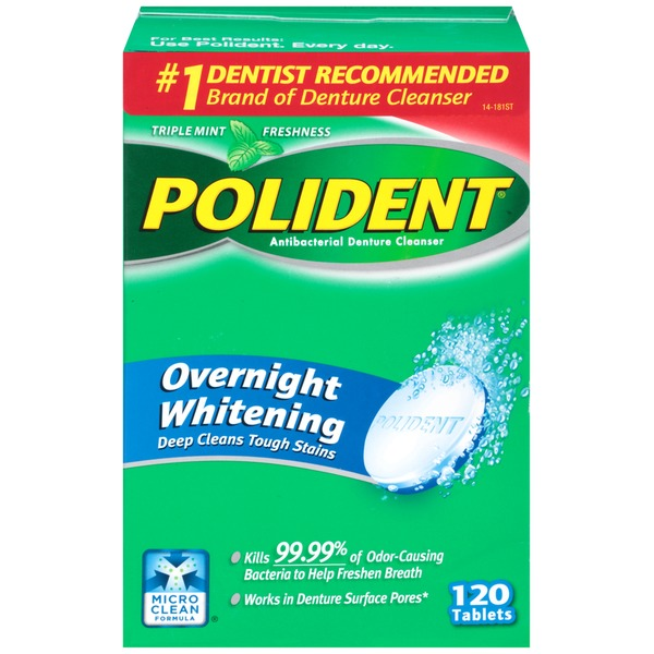 Polident Overnight Whitening Triple Mint Freshness Tablets Antibacterial Denture Cleanser
