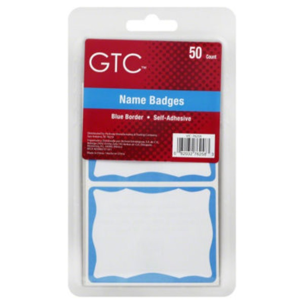 GTC Blue Border Name Badges