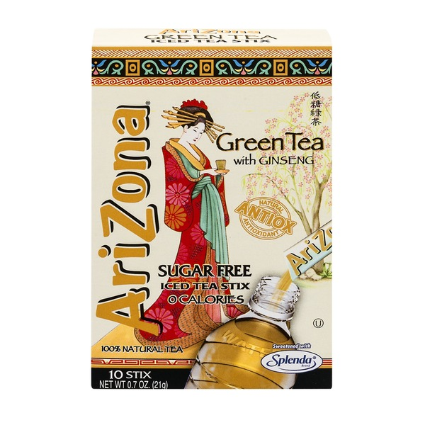 AriZona Iced Tea Stix Sugar Free Green Tea with Ginseng - 10 CT