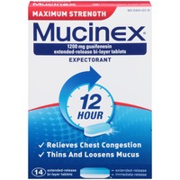 Mucinex Maximum Strength Extended-Release Bi-Layer Tablets Expectorant