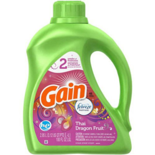 Gain Liquid Laundry Detergent with Febreze Freshness, Thai Dragon Fruit Scent, 48 loads, 100 fl oz Laundry