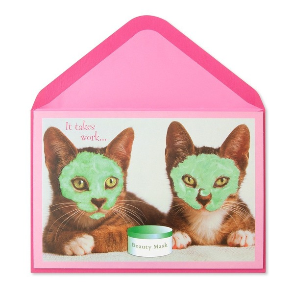 Papyrus Two Cats W Facial Masks Card