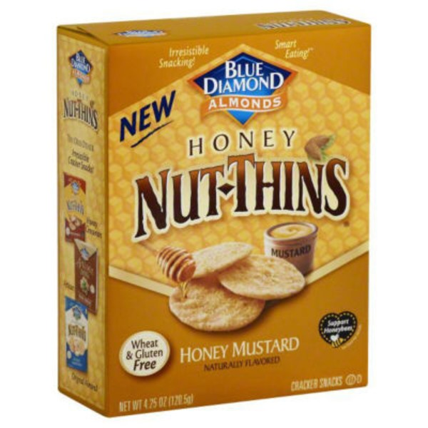 Blue Diamond Almonds Nut-Thins Honey Mustard Nut & Rice Cracker Snacks