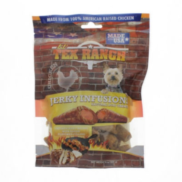 Lil Tex Ranch Dog Treat, Chicken Jerky with Bacon, Jerky Infusions, Pouch