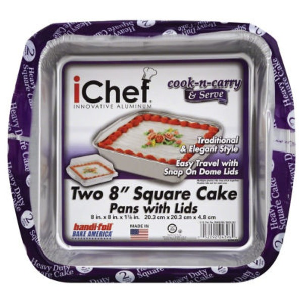 Handi-Foil Pan, Foil, iChef, Cake Pan with Lids, 8 Inch, Wrapper