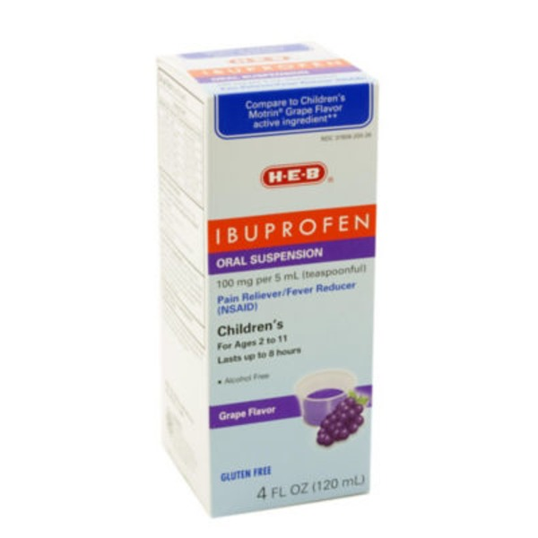 H-E-B Children's Grape Flavor Oral Suspension Pain Reliever/Fever Reducer Ibuprofen