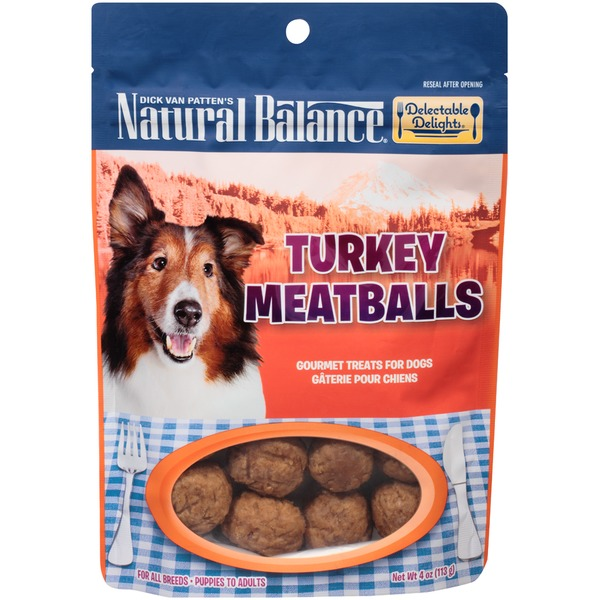 Natural Balance Delectable Delights Turkey Meatballs Gourmet Dog Treats