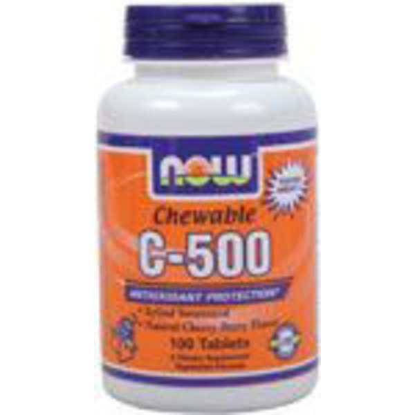Now Cherry-Berry Flavor Vitamin C-500 Chewable Tablets