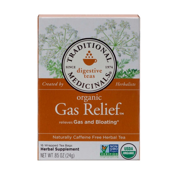 Traditional Medicinals Digestive Teas Organic Gas Relief Wrapped Tea Bags - 16 CT