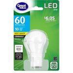 Great Value LED Dimmable A19 (GU24), 10W (60W Equivalent), Soft White