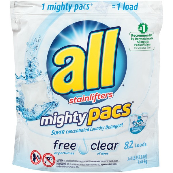All with Stainlifters Mighty Pacs Super Concentrated Free Clear 82 Loads Laundry Detergent
