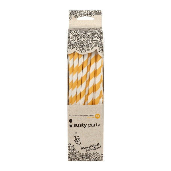 Susty Party Compostable Paper Straws Yellow - 50 CT