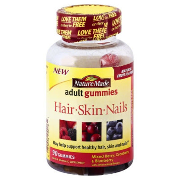 By Nature Hair, Skin and Nails, Biotin & Vitamin C, Adult Gummies